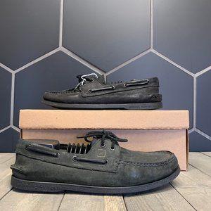 Used W/O Box! Mens Sperry Triple Black Boat Shoe